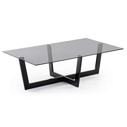 Kave Home - Mesa de Centro Plam Transparente Rectangular 120 x 70 cm de Cristal Templado y Patas de Acero en Negro