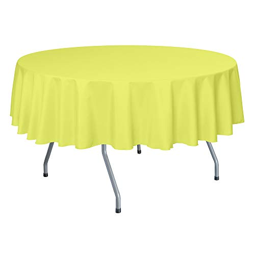 Ultimate Textile -55 Pack- 72-Inch Round Polyester Linen Tablecloth - for Wedding, Restaurant or Banquet use, Lemon Yellow
