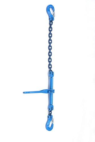 Zurrketten 10mm Ø, GK 10, Lieferbar von 1m bis 4m Nutzlänge,einteilig mit integiertem Ratschenlastspanner (mit Ausdrehsicherung) und angebautem Verkürzungshaken in blau lackiert (3m Nutzlänge Kette 10mm, GK10)