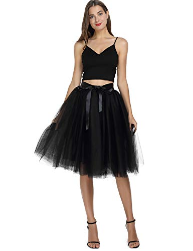 Women's High Waist Pleated Princess A Line Midi/Knee Length Tutu Tulle Skirt for Prom Party (Free Size, Black)