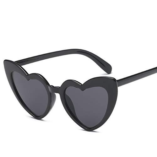 Mujeres Corazón Gafas de Sol Diseñador Ojo de Gato Gafas de Sol Retro Amor En Forma de corazón Gafas Ladies Gafas de Sol UV400 Gafas de conducta (Color Name : Black)