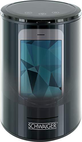 SCHWAIGER -661989- Ozon Sterilisator, Desinfektion, Desinfektionsgerät, für Smartphone, Schlüssel, Handy, Geldbörse, Brille etc, Sterilizor, LED Beleuchtung, Touchpad, USB Port