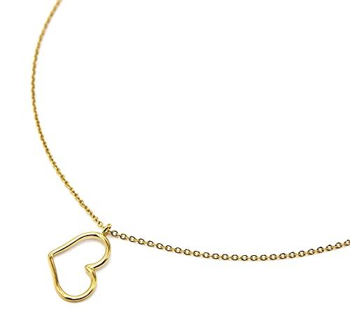 Oh My Shop CC3579 – Collar fino con colgante de corazón de acero dorado