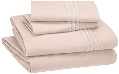 Amazon Basics Easy-Wash Embroidered Hotel Stitch 120 GSM Sheet Set - Queen, Blush Pink