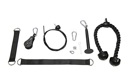 HulkFit Cable Pulley System with Tricep Rope, Loading Pin, 3 Carabiners and Two Hanging Straps