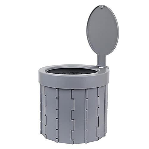 LDS Secchio WC Pieghevole Pieghevole per Auto con Coperchio Sedile WC da Esterno Porta Vasino Sgabello Pieghevole Sedile Leggero WC per Auto Lavabile Multifunzione per Campeggio Grey