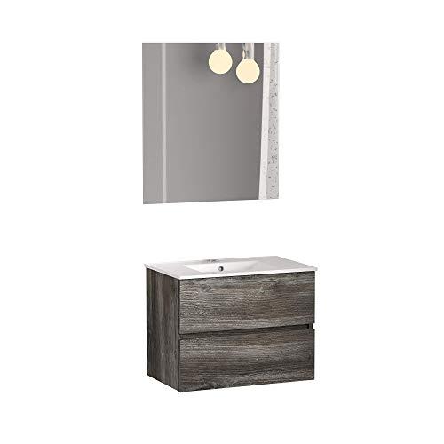Baikal 280034134 Conjunto de Mueble de Baño suspendido a la Pared con Fondo reducido, con Lavabo y Espejo, Dos cajones, Medidas, Melamina 16, Vintage, 50 X 55 X 40 cm