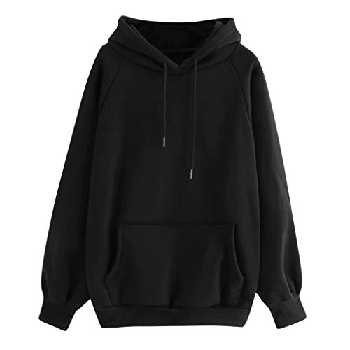 Xinantime Women Solid Hooded Sweatshirt Long Sleeve Hoodie Sweatshirt Hooded Pullover Tops Blouse with Pocket(Black,XXL)