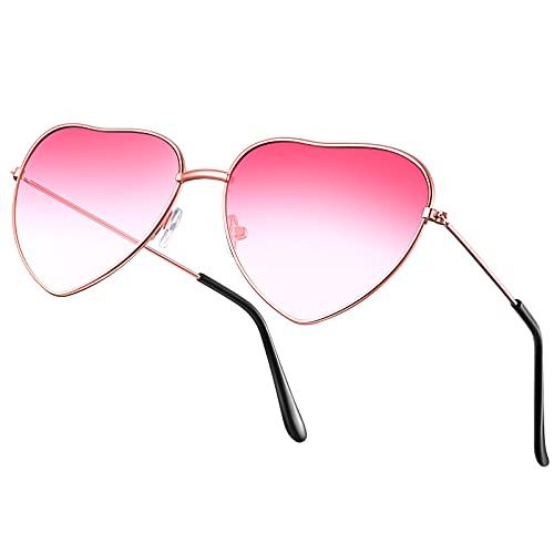 Hippie Gläser Brille Herz Geformt Sonnenbrille für Hippie Schick Kleid Zubehör, Metall Rahmen Rose Gold Rahmen