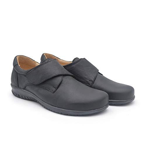 Limon Negro 43 EU- Zapato clásico Hombre Ancho y cómodo - Piso de Cuero - Plantilla extraíble y recambiable - Piel ecológica sin Cromo - Forrados de Piel - Moda sostenible