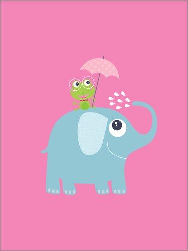Posterlounge Acrylglasbild 60 x 80 cm: Frosch und Elefant auf Rosa von Jaysanstudio - Wandbild, Acryl Glasbild, Druck auf Acryl Glas Bild