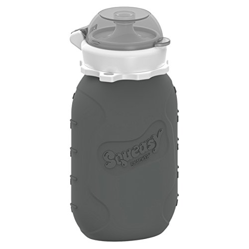 Grey 6 oz Squeasy Snacker Spill Proof Silicone Reusable Food Pouch - for Both Soft Foods and Liquids - Water, Apple Sauce, Yogurt, Smoothies, Baby Food - Dishwasher Safe