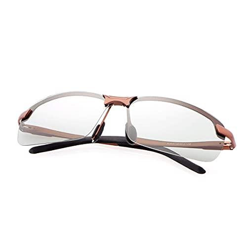 Gafas de sol polarizadas fotocromáticas para deportes al aire libre para hombres y mujeres, protección UV400, para conducir, golf, correr, ciclismo, gafas ultraligeras (marco marrón 3043)