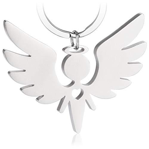 Premium Schutzengel Schlüsselanhänger von VULAVA - der edle Engel Anhänger u. Glücksbringer mit Herz ist die Geschenk Idee für Kinder Partner Führerschein Auto u. Motorrad Fahrer (Silber Matt)