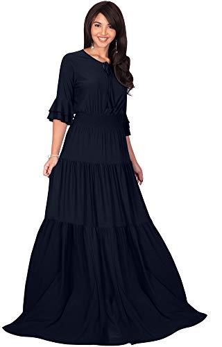KOH KOH Womens Long Boho Bohemian Casual Vintage Solid Casual A-line 3/4 Sleeve Peasant Maternity Flowy Empire Waist Loose Floor Length Cute Maxi Dress Gown, Dark Navy Blue L 12-14