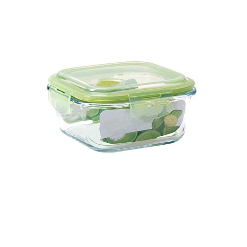 Sort Out Storage Square Borosilicate Glass Crisper, 800Ml Refrigerator Airtight Box, Student Fruit Bento Box