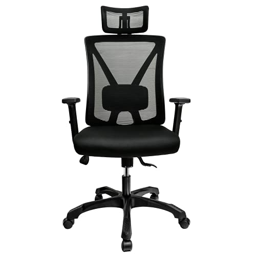 Aiivsit Ergonomischer Bürostuhl atmungsaktiver Schreibtischstuhl mit Einstellbarer Kopfstütze und Lendenstütze, Bürosessel mit Wippfunktion(bis 135°), belastbar bis 150kg