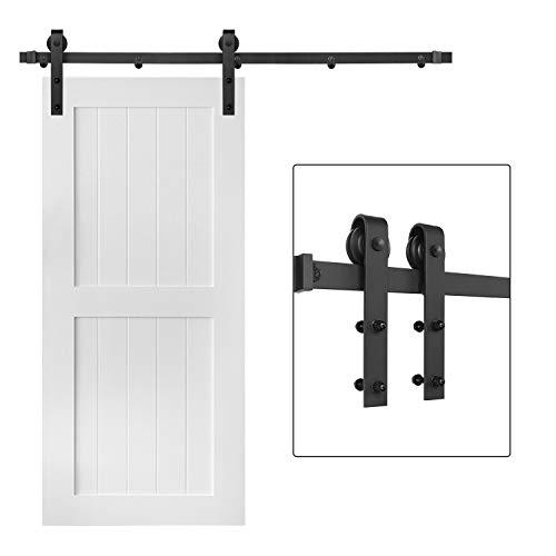 5FT Single Sliding Barn Door Hardware Kit, Superior Metal Rail Track Set for Wooden Door