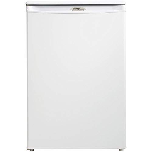 Danby DUFM043A2WDD Designer 4.3 Cu Ft Storage Upright Reversible Deep Freezer Cooler with Manual Defrost and 3 Quick Freeze Shelves, White