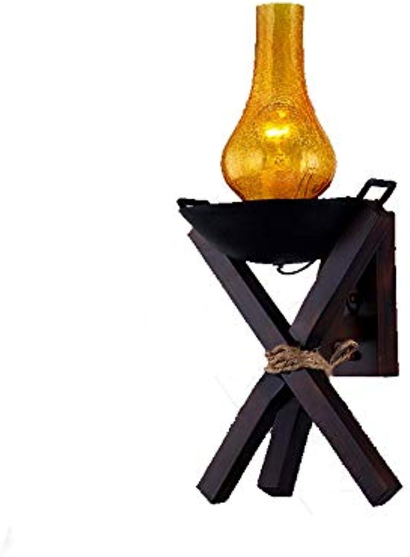 Retro Massivholz personalisierte Creative antiken Wandleuchte Country Bar lights Gang Lights Restaurant Beleuchtung