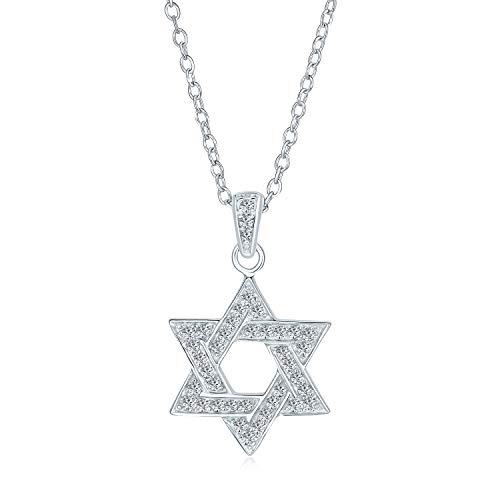 Cubic Zirconia CZ Acento tradicional religioso Magen judaico judío Hanukkah entrelazado estrella de David colgante collar para las mujeres adolescentes Bat Mitzvah 925 plata de ley