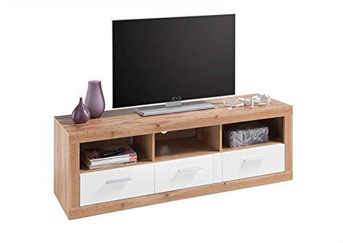 TV-Lowboard Fernsehschrank Fernsehtisch   Wildeiche   Weiß Hochglanz   3 Schubladen   147x49x45 cm