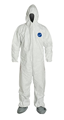 DuPont Tyvek 400 TY122S Disposable Protective Coverall with Elastic Cuffs, Attached Hood and Boots, White, 2X-Large (Pack of 6)