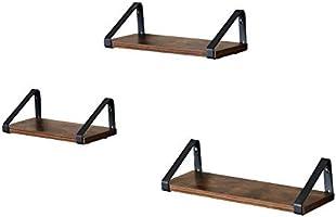 VASAGLE wandplank in industrieel ontwerp, zwevende plank, set van 3, wandmontage, 44,2 x 15,6 x 8,2 cm, stabiele plank...