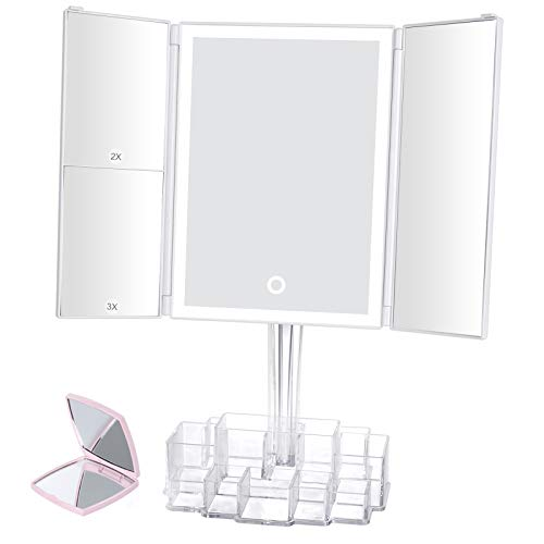 Lighted Makeup Mirror Vanity Mirror with Lights and Touch Screen ,Tri-fold Mirror Storage with 38...