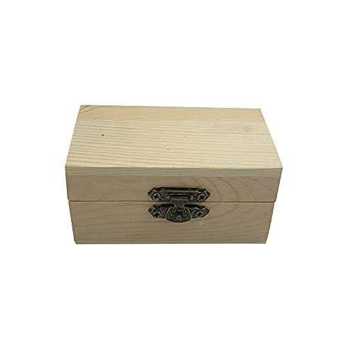 Caja de madera pequeña caja de madera caja de joyería de madera caja de almacenamiento de madera de escritorio caja de almacenamiento de joyería de madera color de madera, 9x5.3x4.3cm