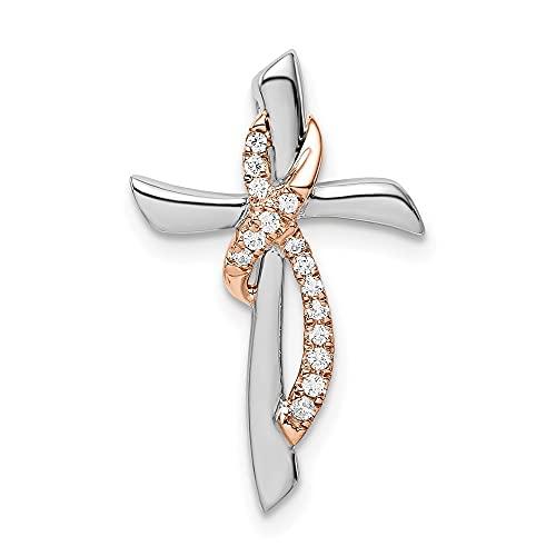 Cruz religiosa de oro de 14 quilates de dos tonos de oro blanco y rosa con cinta de diamantes de la cadena de la diapositiva de la joyería regalos para las