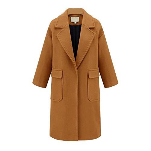 MOMOXI Abrigo de Lana de Solapa de Invierno para Mujer Trench Jacket Abrigo Largo Outwear Mujer Largos Elegantes Acolchados con Capucha Fiesta Chaqueta Larga Fina Invierno Caliente Vintage