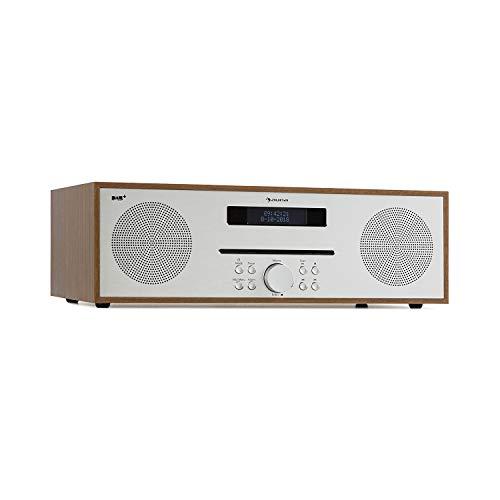 AUNA Silver Star - Streamer di Rete Hi Fi, Radio DAB, Lettore CD con Radio DAB + e FM, Bluetooth, 2 x 20 Watt Max., USB, AUX-IN, Jack Cuffie, Effetto Legno, Telecomando Incluso, Marrone