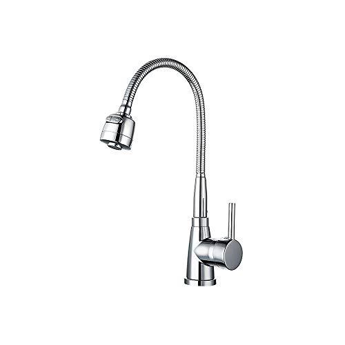 XVXFZEG Acero inoxidable grifo de la cocina moderna de mezclador del grifo de lavabo de la cocina grifos de lavabo con mango de 360 grados de baño Boquilla agua caliente y fría de la cocina orificio