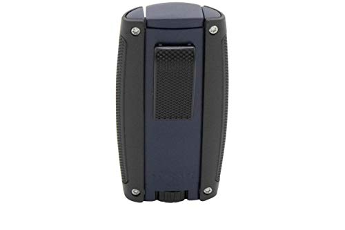 Xikar Turismo Double Jet Flame Cigar Lighter, Attractive Gift Box, Pocket-Friendly, Protective Flip-Lid, Over-Sized Fuel Tank, Matte Blue