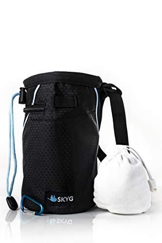 SKYG Chalk Bag for Rock Climbing- Refillable Chalk Ball (2.3 oz), Belt, Small Carabiner Clip, Brush Loop and 2 Zippered Pockets for Climbing, Bouldering, Gymnastics, Cross Fit and Lifting