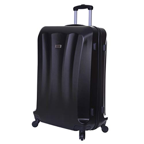 Slimbridge Extra Large Hard Shell Luggage Suitcase Bag XL 78 cm 3.8 kg 85 litres with 4 Wheels and Number Lock, Lydde (78 cm, Black)