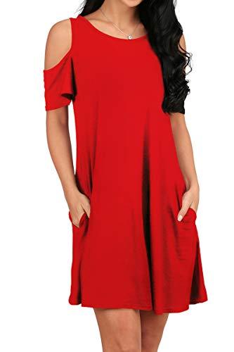 Tunika für Damen, Übergröße, einfarbig, fließend, Sommer, kurzärmelig, Tunika, Kleid, rot, M