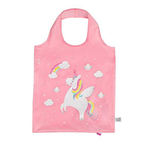 Sass & Belle Einkaufstasche mit Motiv Regenbogen-Einhorn-Regentropfen, faltbar