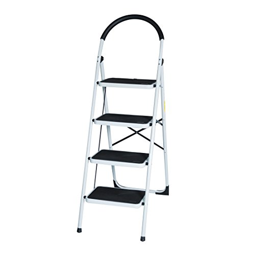Good Life EN131 Folding Step Ladder Steel Step Ladders Lightweight 300 lb Capacity with Hand Grip Anti-Slip and Wide Pedal (4 Step)