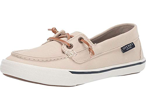 Sperry Womens Lounge Away Poplin Casual Sneakers, Beige, 8
