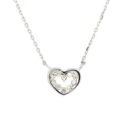 新宿銀の蔵 オープンハート ゴールドネックレス 金 18金 K18 透かし ホワイトゴールド ダイヤモンド ダイアモンド ネックレス