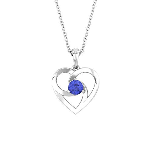 Collar de corazón abierto, 1/4 ct, forma redonda, tanzanita de 4 mm, colgante solitario, colgante de amor, joyas de oro, regalo de San Valentín para ella,10K Oro blanco Sin cadena