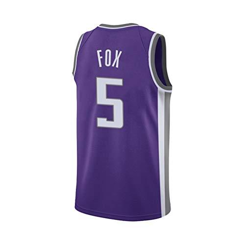 WSF Jersey De'Aaron Fox # 5, Herren-Basketball-Trikots, Sacramento Kings Mannschaft, New Stoff gestickter Unisex Sleeveless T-Shirt Basketball-Trikot NBA Swingman Anzug (Color : Purple, Size : L)