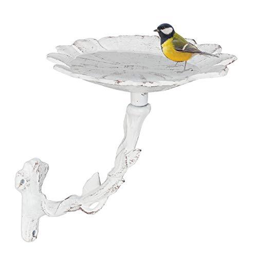 Relaxdays Vogeltränke aus Gusseisen, Blüte, Gartendeko, Wandmontage, Vogelfutterstelle, Wildvögel Wasserschale, weiß