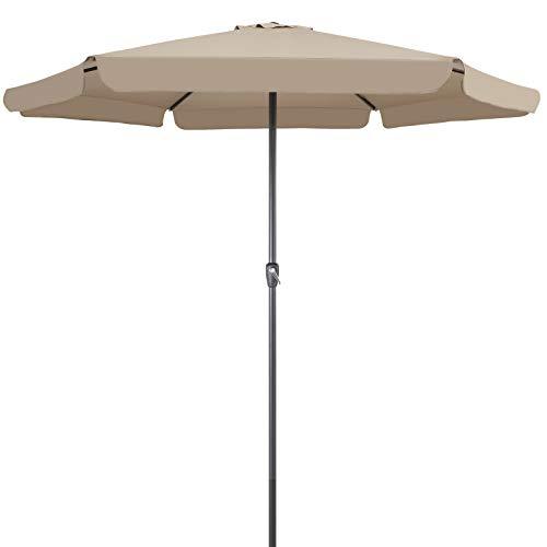 Kingsleeve Sonnenschirm UV Schutz 50+ Taupe Grau 330 cm Groß Wasserabweisend Kurbel Garten Terrasse Balkon Marktschirm