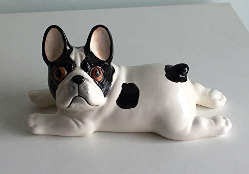 Lying French bulldog black and pied porcelain figurine, handmade, porcelain dog figurine