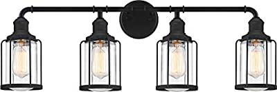 Quoizel LUD8634EK Ludlow Blueprint Industrial Vanity Bath Lighting, 4-Light 100 Watts, Earth Black