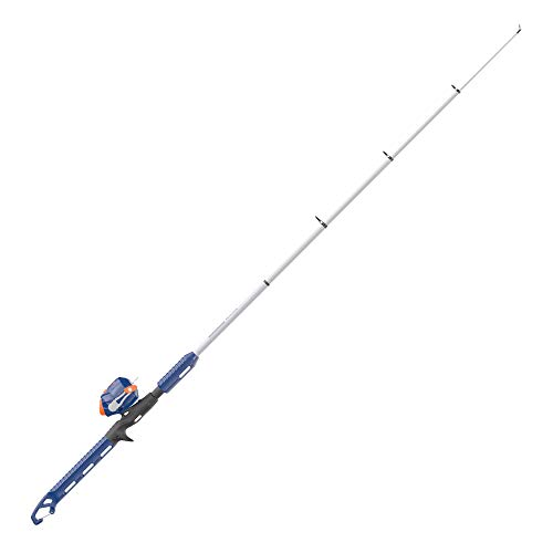 Zebco Wilder Spincast Reel and Telescopic Fishing Rod Combo, 4'3' Durable Fiberglass Telescopic Rod with Built-in Carabiner, Patented No-Tangle Reel, Pre-Spooled with 6 lb Zebco Line, Blue/Orange