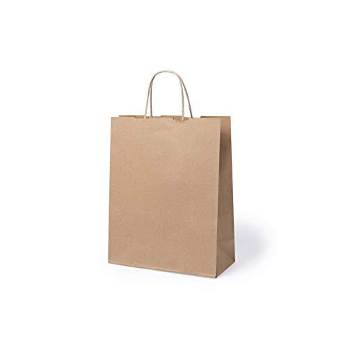 Lote de 100 Bolsas de Papel Kraft 31 x 25 x 11 cm - 100 Gr/m2 - Bolsas Marrones Kraft Retro Natural - Bolsas de Papel Baratas para Tiendas de Regalos, Detalles